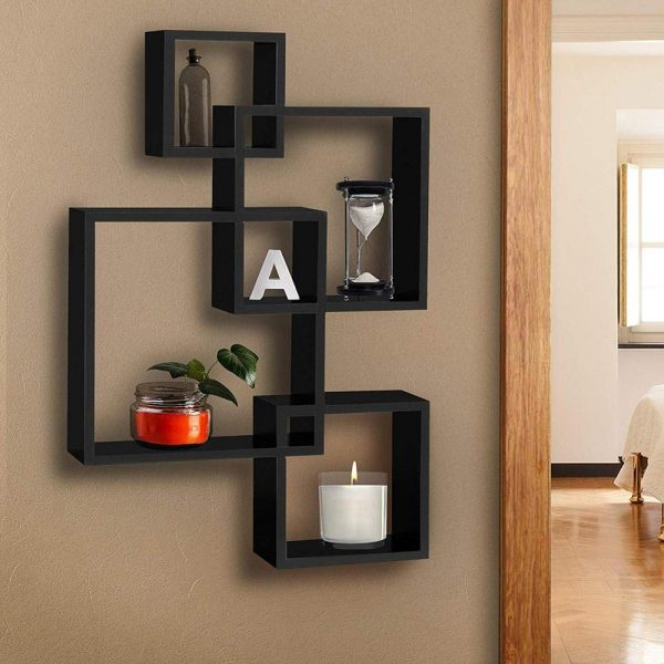 Intersecting Wall Mount Shelves For Home Decoration And Living Room